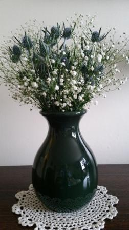 Sea Holly arranged with Baby's Breath