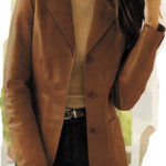Women's petite leather blazer